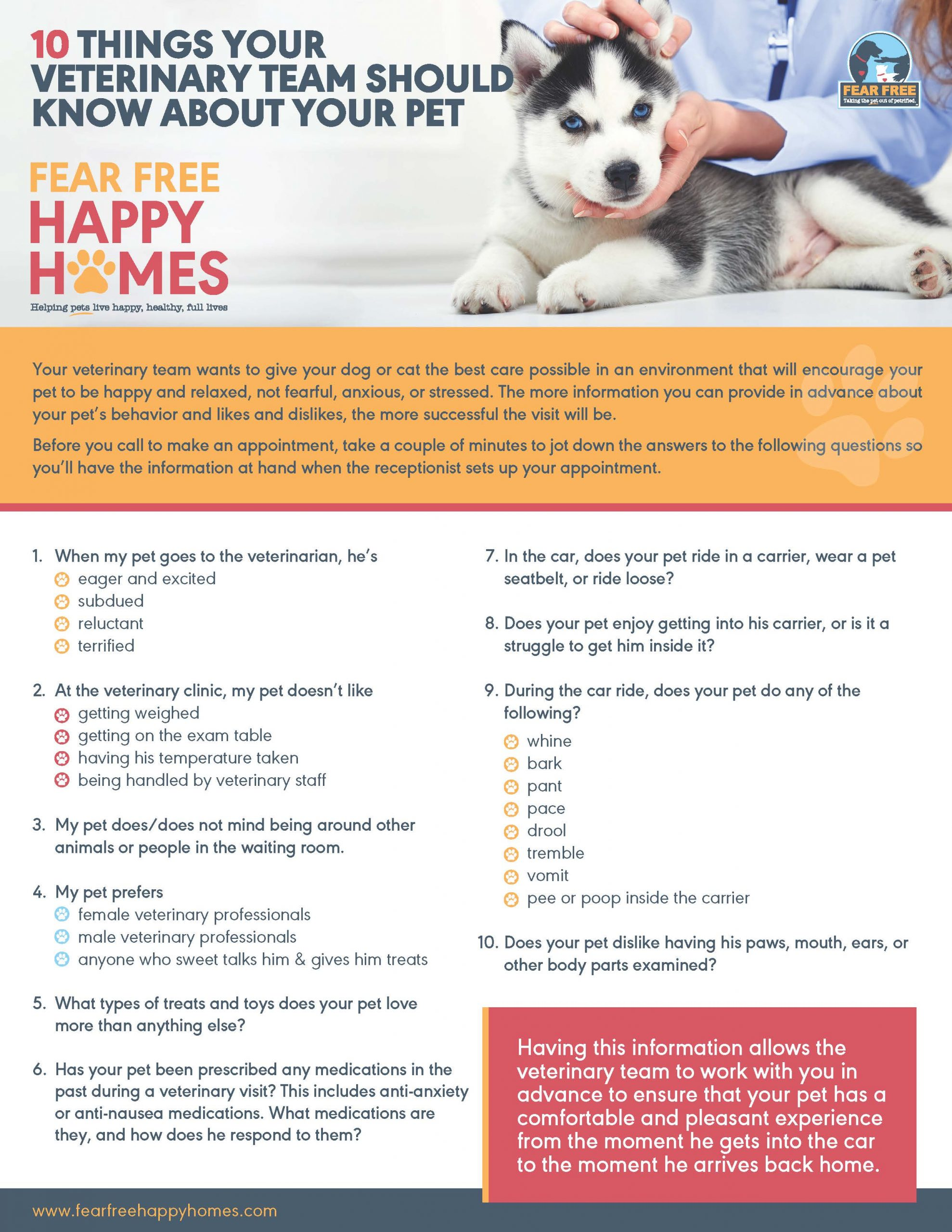 10 Things Your Vet Team Should Know About Your Pet 1